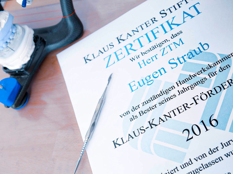Zertifikat Klaus Kanter Stiftung